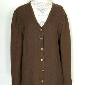 St John Collection Brown Logo Button Suit Jacket